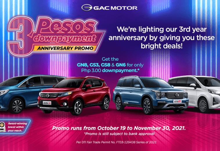3 Pesos downpayment anniversary promo